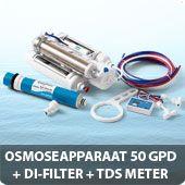 Osmoseapparaat 50 GPD met DI-filter en TDS meter