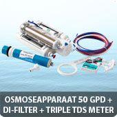 Osmoseapparaat 50 GPD met DI-filter en triple TDS meter