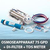 Osmoseapparaat 75 GPD met DI-filter en TDS meter