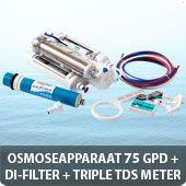 Osmoseapparaat 75 GPD met DI-filter en triple TDS meter