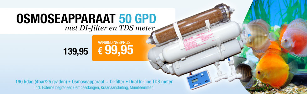 Korting osmoseapparaat 50 GPD met DI-filter en TDS meter