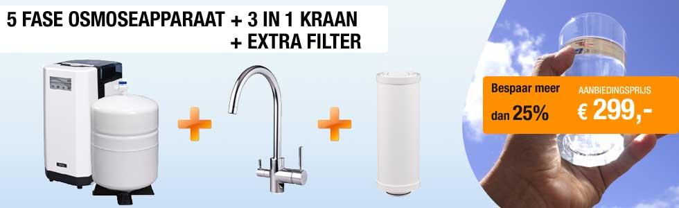 Super aanbieding osmoseapparaat + 3 in 1 kraan + extra filter